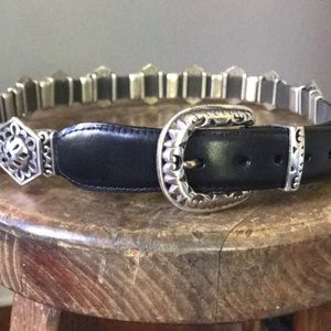Fun Silver Floral  Hexagons -  Black Leather Belt!